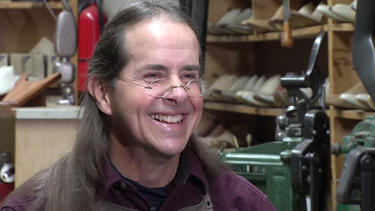 Michael Carnacchi speaks to ABC7 at Michael Anthony Custom Bootmaker in Sebastapol, Calif.