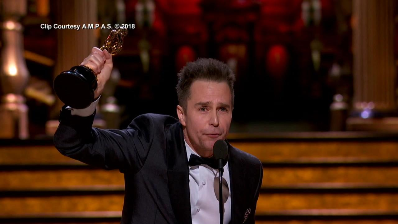 Bay Area native Sam Rockwell celebrates his Oscar win for Best Supporting Actor in Los Angeles on Sunday, March 3, 2018.