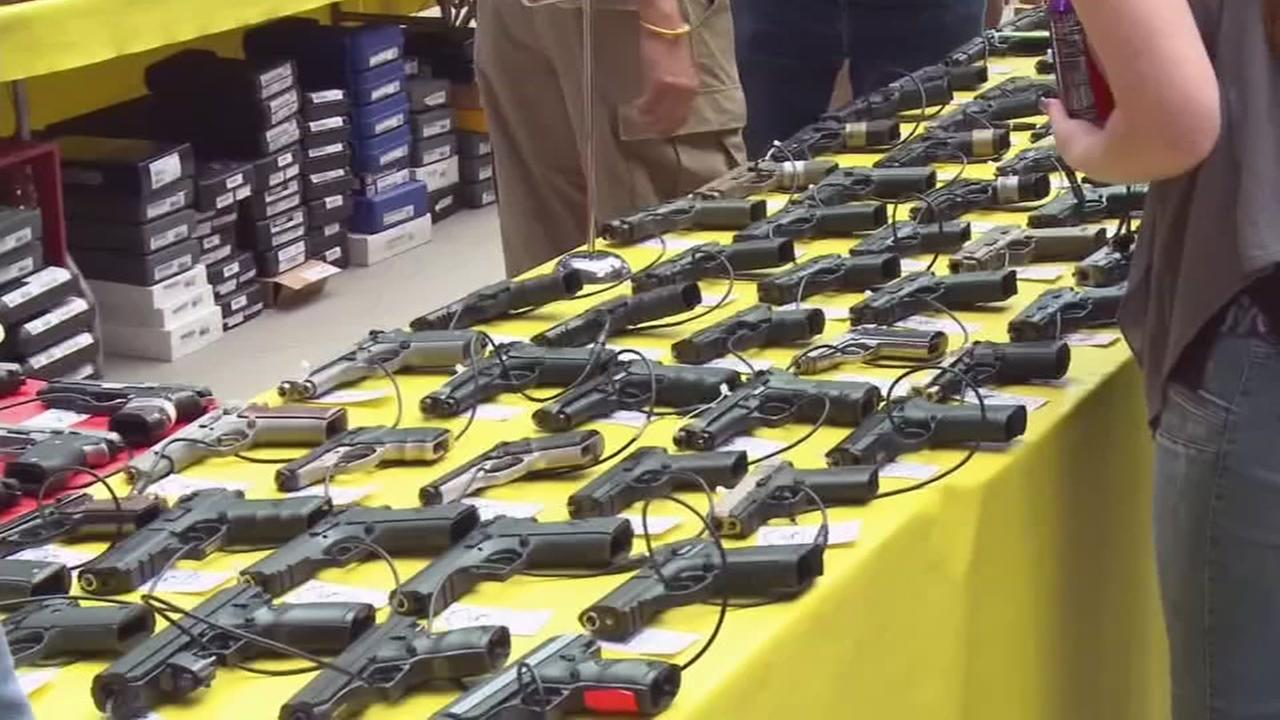 Firearms are seen at a gun show in this undated image.