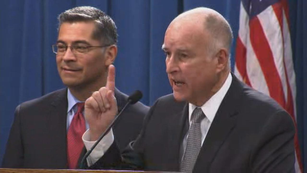 California Governor Jerry Brown and Attorney General Xavier Becerra speak at a news conference in Sacramento, Calif. on Wednesday, March 7, 2018.