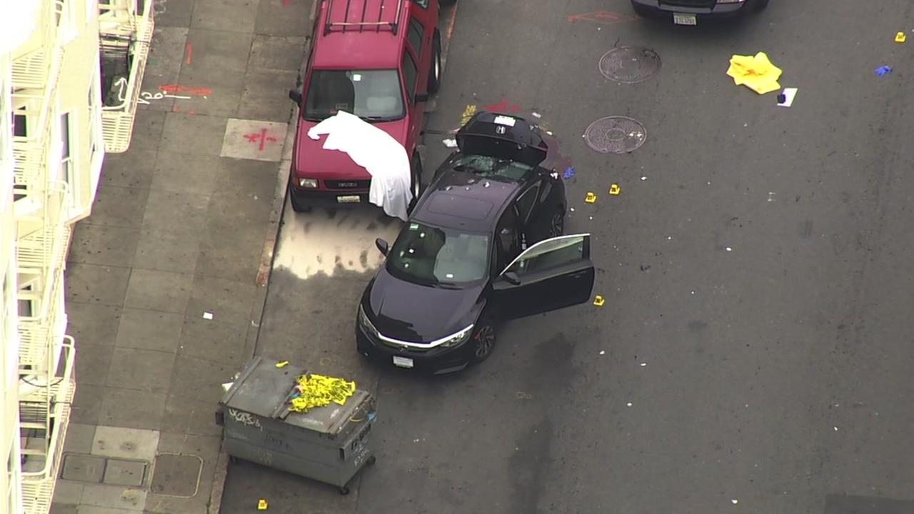 Sky7 was over the scene of an officer-involved shooting in San Franciscos Mission District on Wednesday, March 7, 2018.