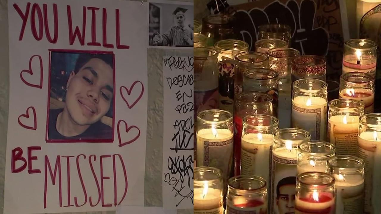 Friends of 19-year-old Jesus Adolfo set up this memorial to him in San Franciscos Mission District on Wednesday, March 7, 2018.
