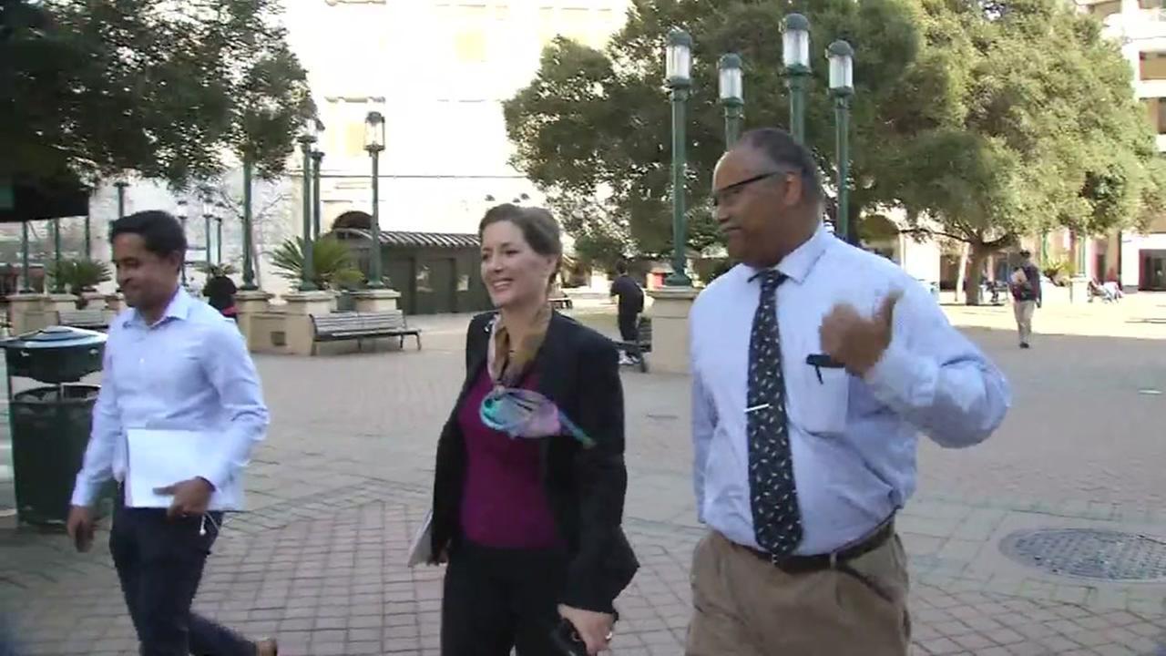 Oakland Mayor Libby Schaaf walks with ABC7 News reporter Eric Thomas in San Franicsco, Calif. on Thursday, March 8, 2018.