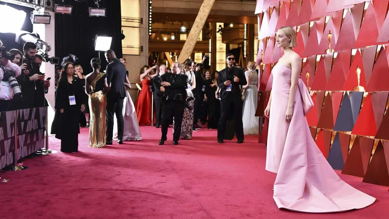 Saoirse Ronan arrives at the Oscars on Sunday, March 4, 2018, at the Dolby Theatre in Los Angeles.