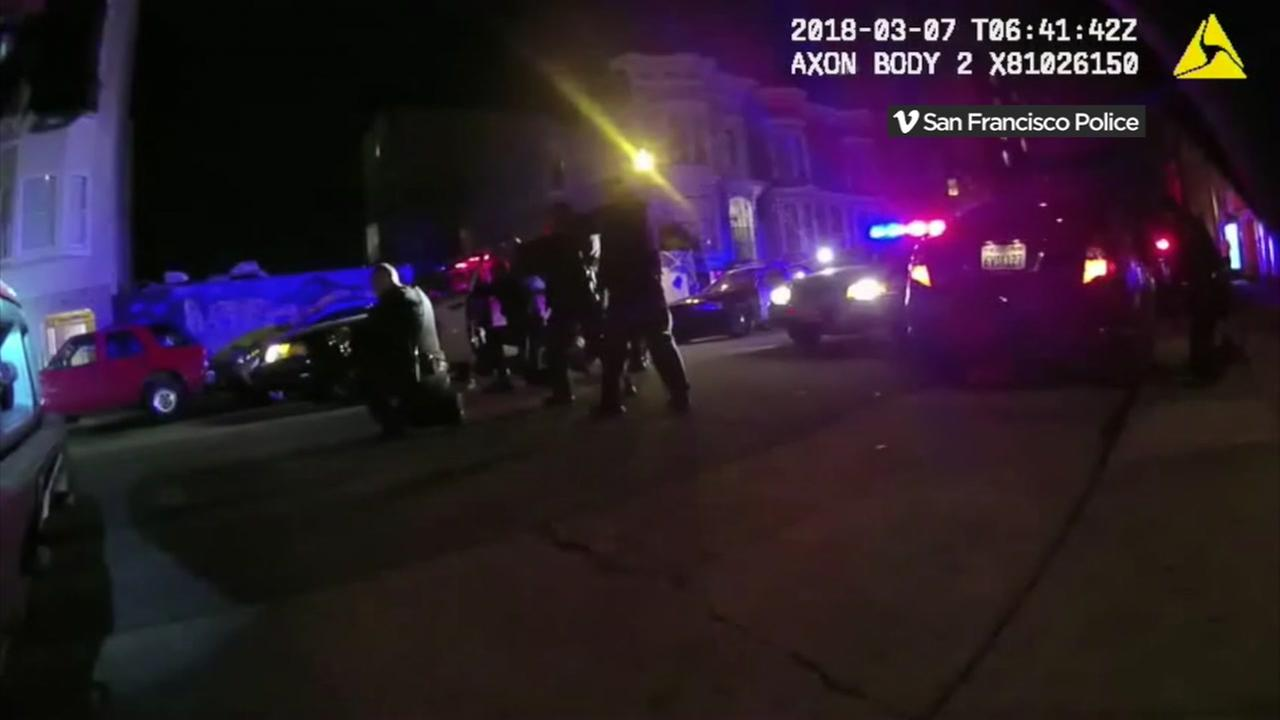 Bodycam footage shows San Francisco police officers on March 6, 2018.