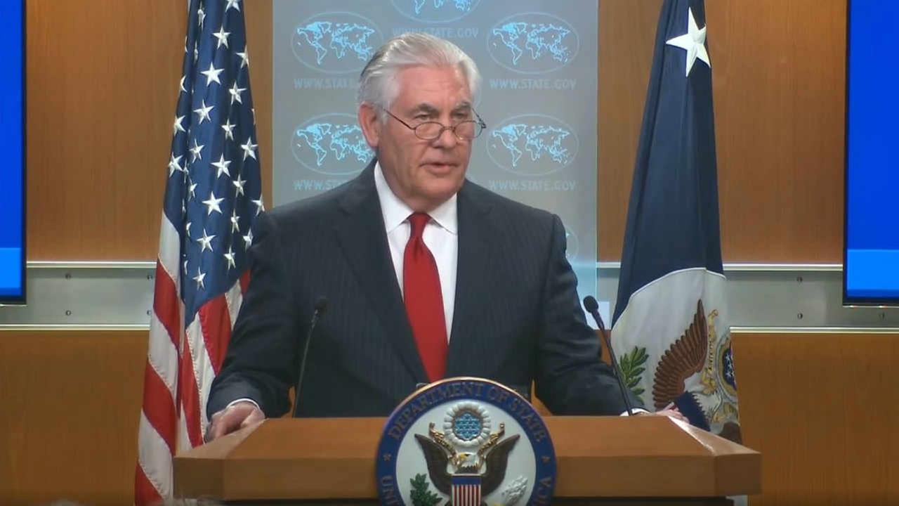 Rex Tillerson is seen speaking at the State Department on Tuesday, March 13, 2018.