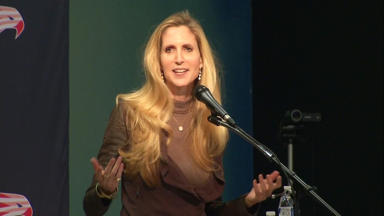 Ann Coulter speaks in Mountain View, Calif. on Tuesday March 13, 2018.