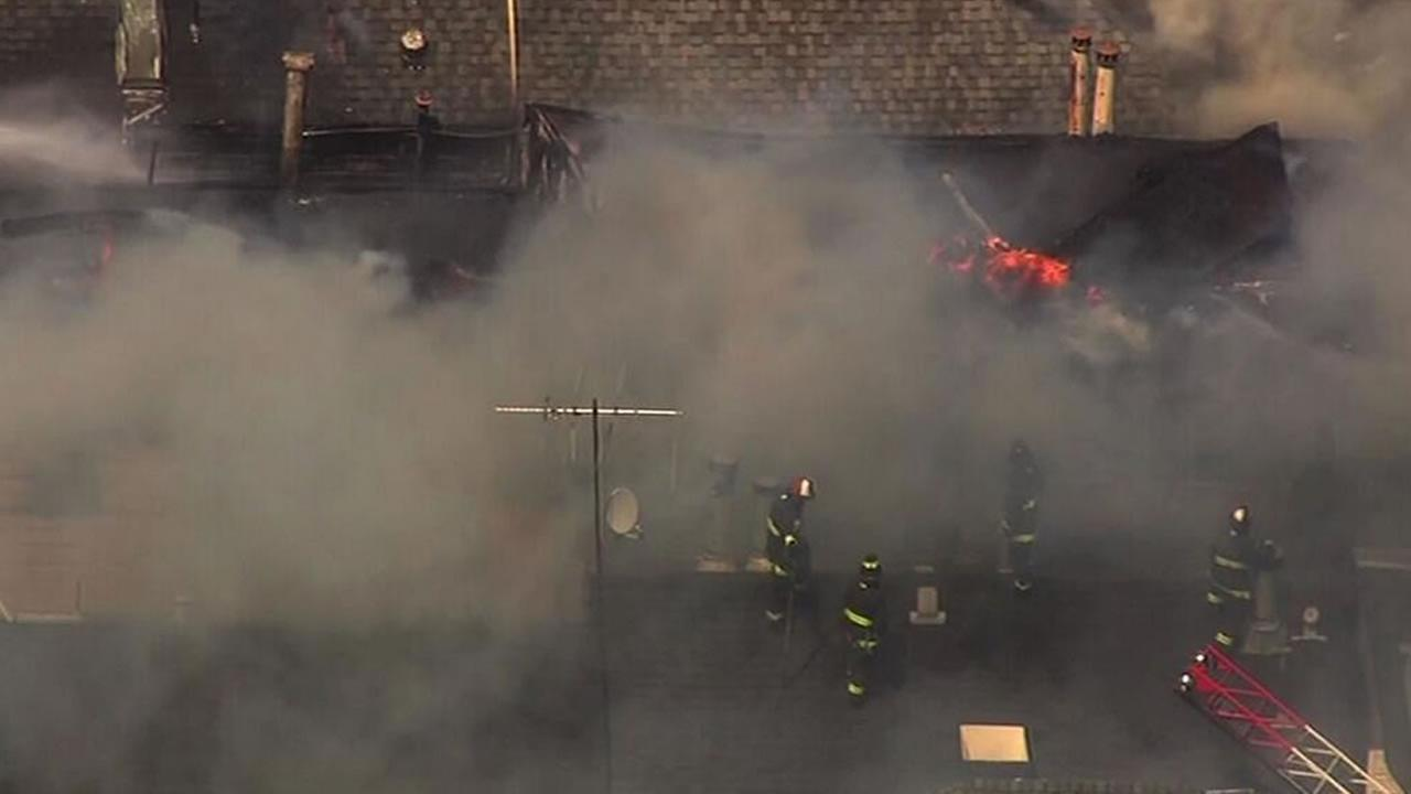 Fire burning on Walter Street and Duoce Avenue in San Francisco