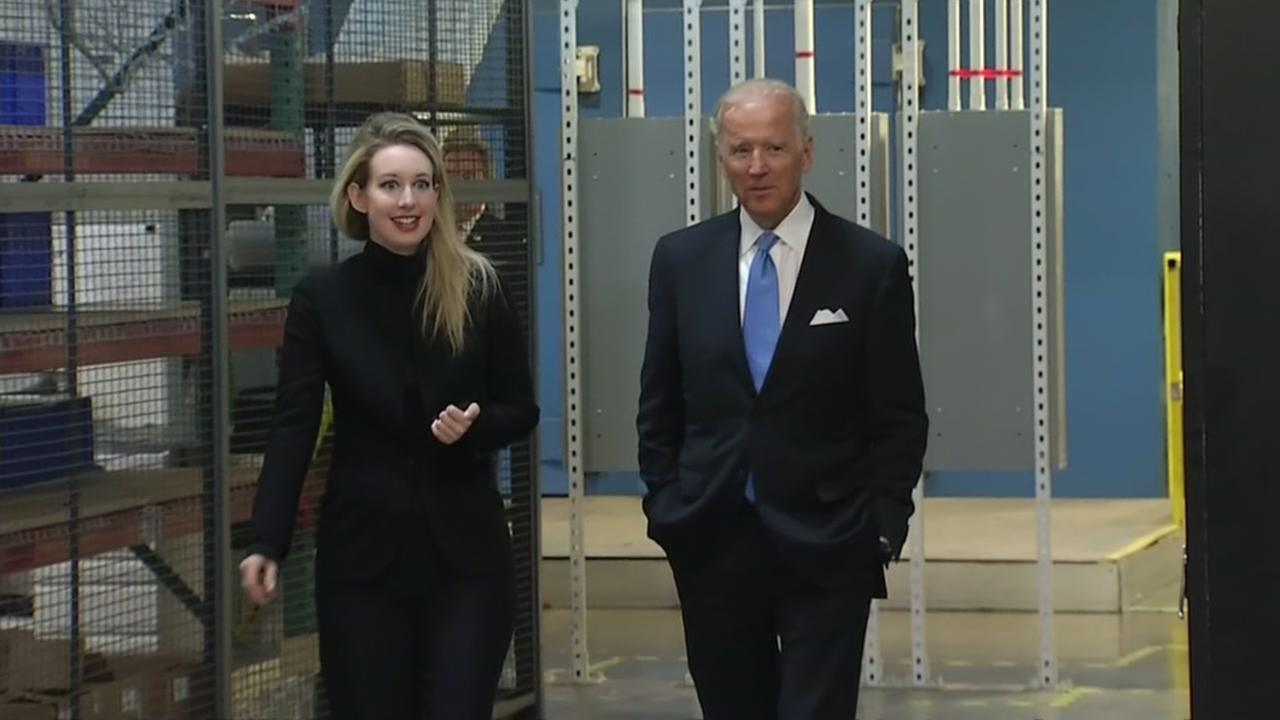 Theranos founder Elizabeth Holmes is seen with former Vice President Joe Biden in this undated image.