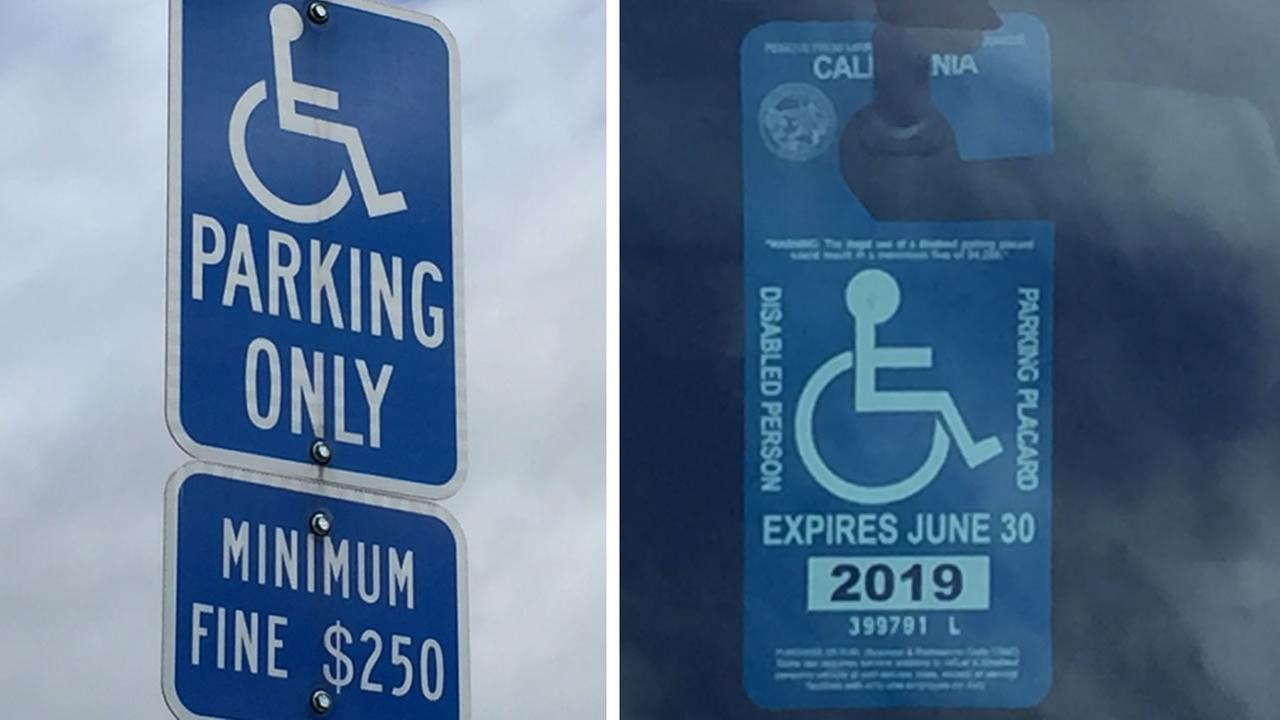 A handicapped parking sign and a placard are pictured on Thursday, March 15, 2018 in San Jose, Calif.