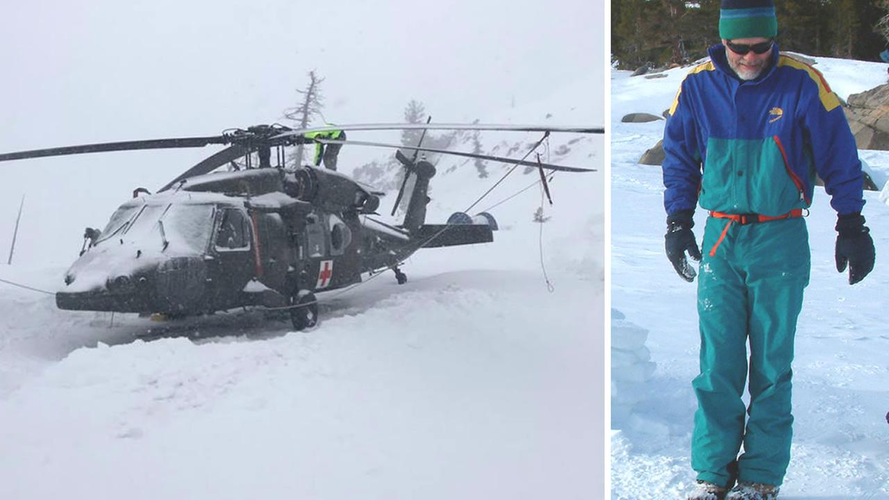 This image shows a law enforcement helicopter and Bay Area resident Mullarkey, who was reported missing in Bear Valley, Calif. on March 14, 2018.