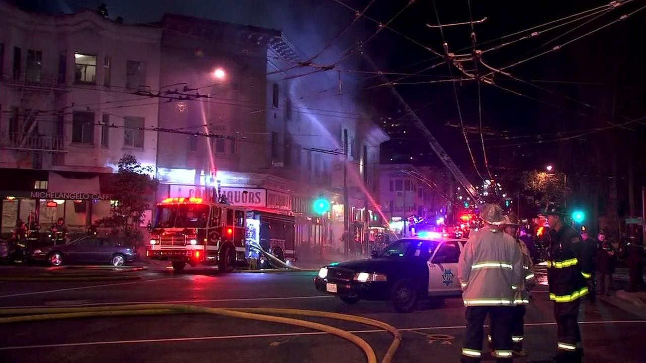 Crews battled a four-alarm fire in San Francisco on Saturday, March 18, 2018.