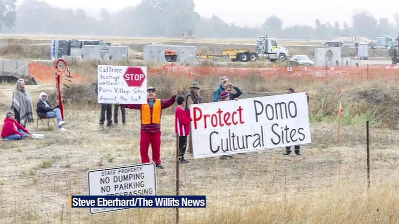 Native American groups protest Caltrans freeway project in Willits, Calif.