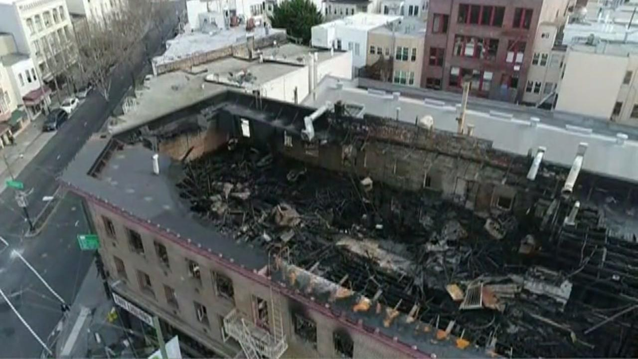 Damage from a 4-alarm fire is seen in a building in San Franciscos North Beach neighborhood on Sunday, March 18, 2018.