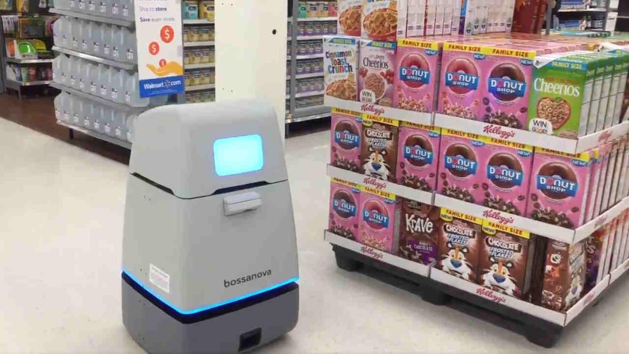A robot is seen in a Bay Area Walmart store on Tuesday, March 20, 2018.