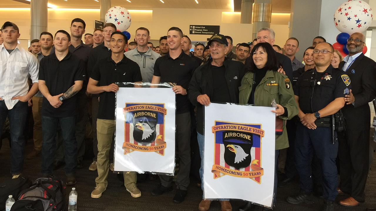 Members of the 101st Airborne from Kentucky were greeted by civic leaders, USO volunteers and United Airlines employees at San Francisco International Airport on March 22, 2018.