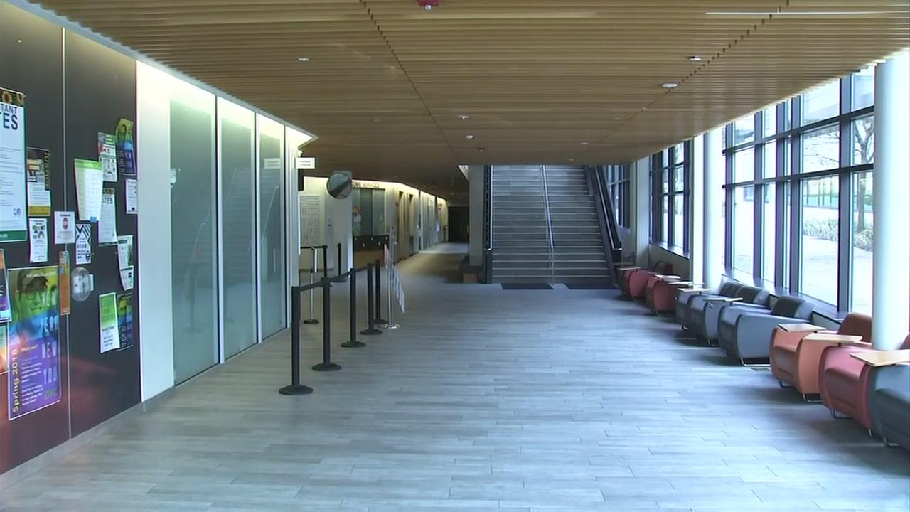 The empty halls of Diablo Valley College in Pleasant Hill appear on Thursday, March 22, 2018.