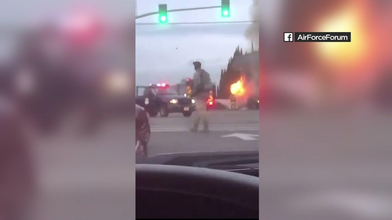 This video was posted to an AirForceForum Facebook page of a fiery crash at Travis Air Force Base on Wednesday, March 21, 2018.