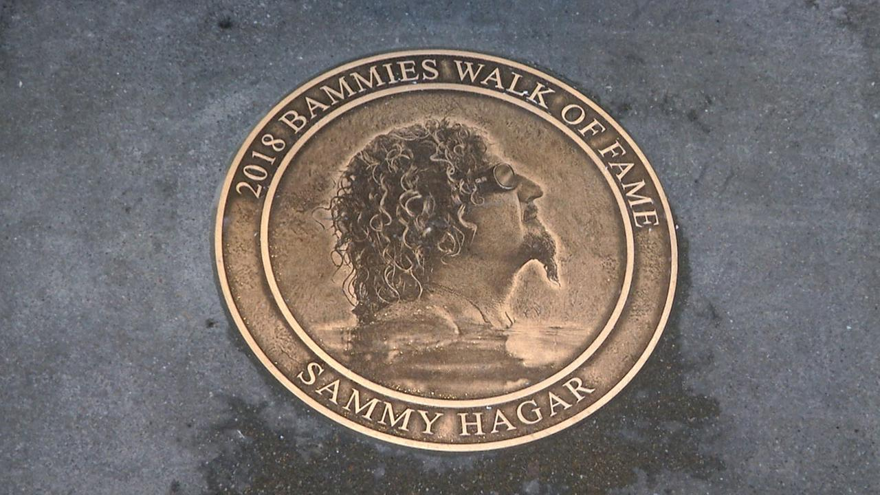 Legendary rock star Sammy Hagar got a plaque on the Bammies Walk of Fame, which is located in front of San Franciscos Bill Graham Civic Auditorium.