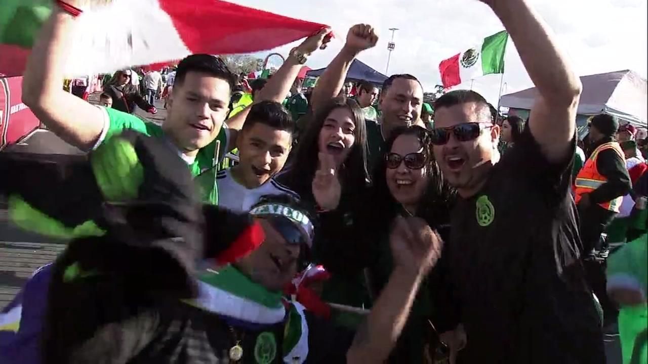 Mexican soccer fans celebrate a game at Levis Stadium in Santa Clara, Calif. on Friday, March 23, 2018.