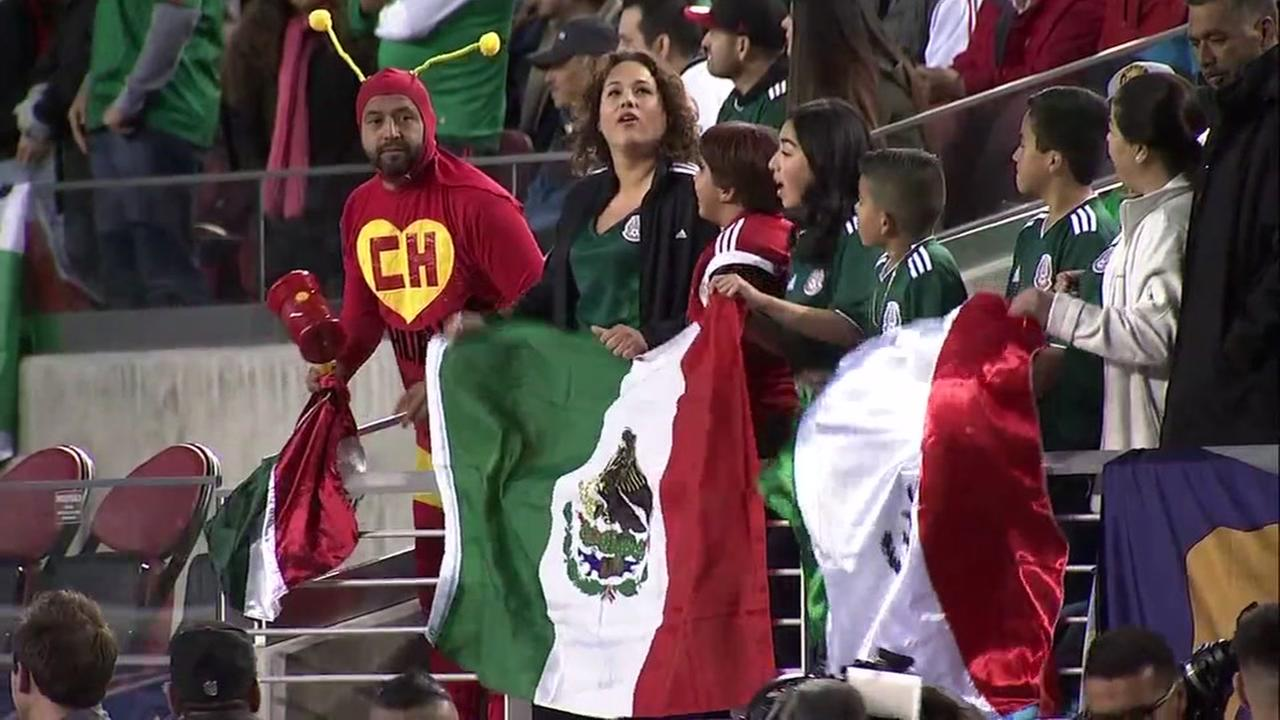 Fans of the Mexican National Soccer Team cheer at Levis Stadium in Santa Clara, Calif. on Friday, March 23, 2018.