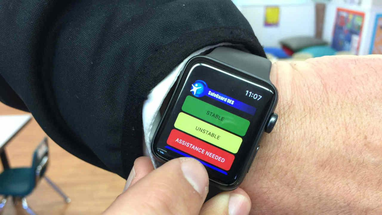 The Safeguard app is seen on an Apple Watch in this undated image.