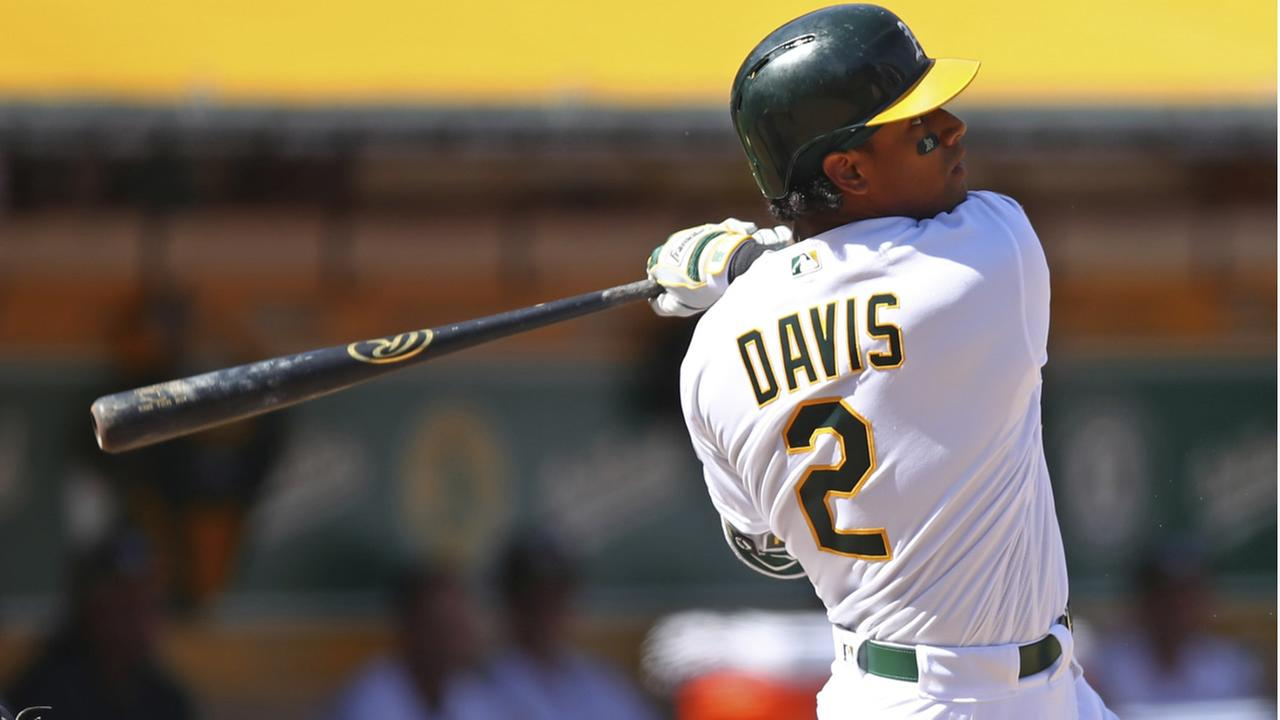Athletics Khris Davis hits a three-run home run off Los Angeles Angels Garrett Richards during a baseball game on Thursday, March 29, 2018 in Oakland, Calif.  (AP Photo)
