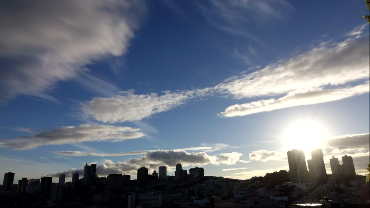This is an undated image of clouds over San Francisco.