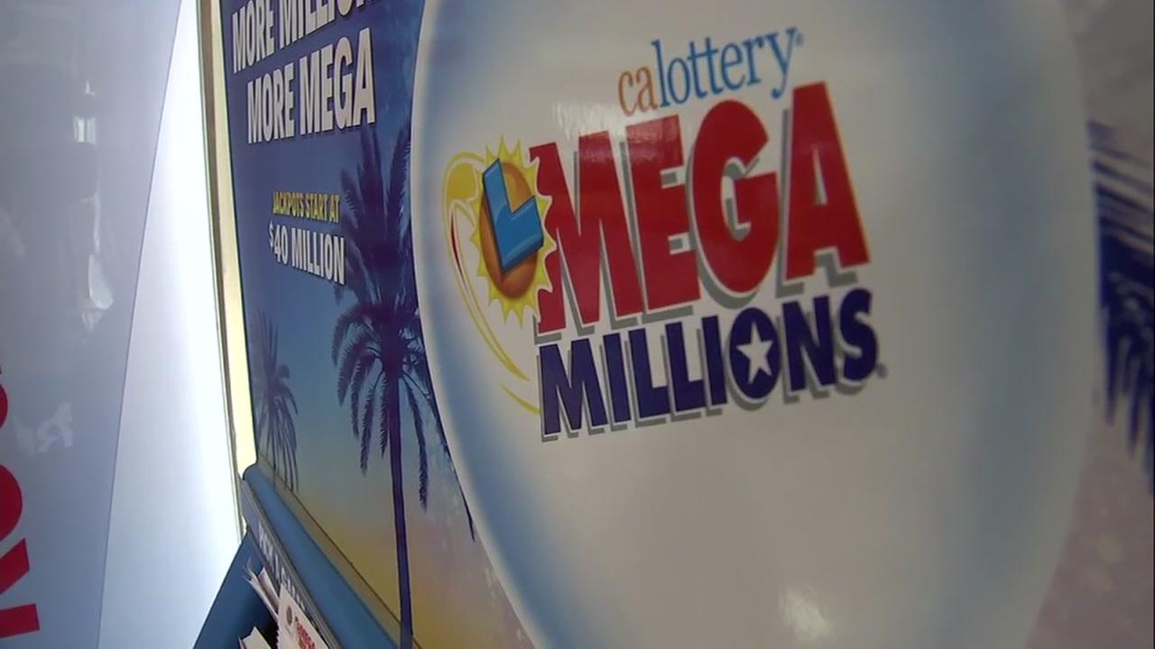 A Mega Millions promotion is shown at the Chevron in Milpitas, Calif. on Friday, March 30, 2018.