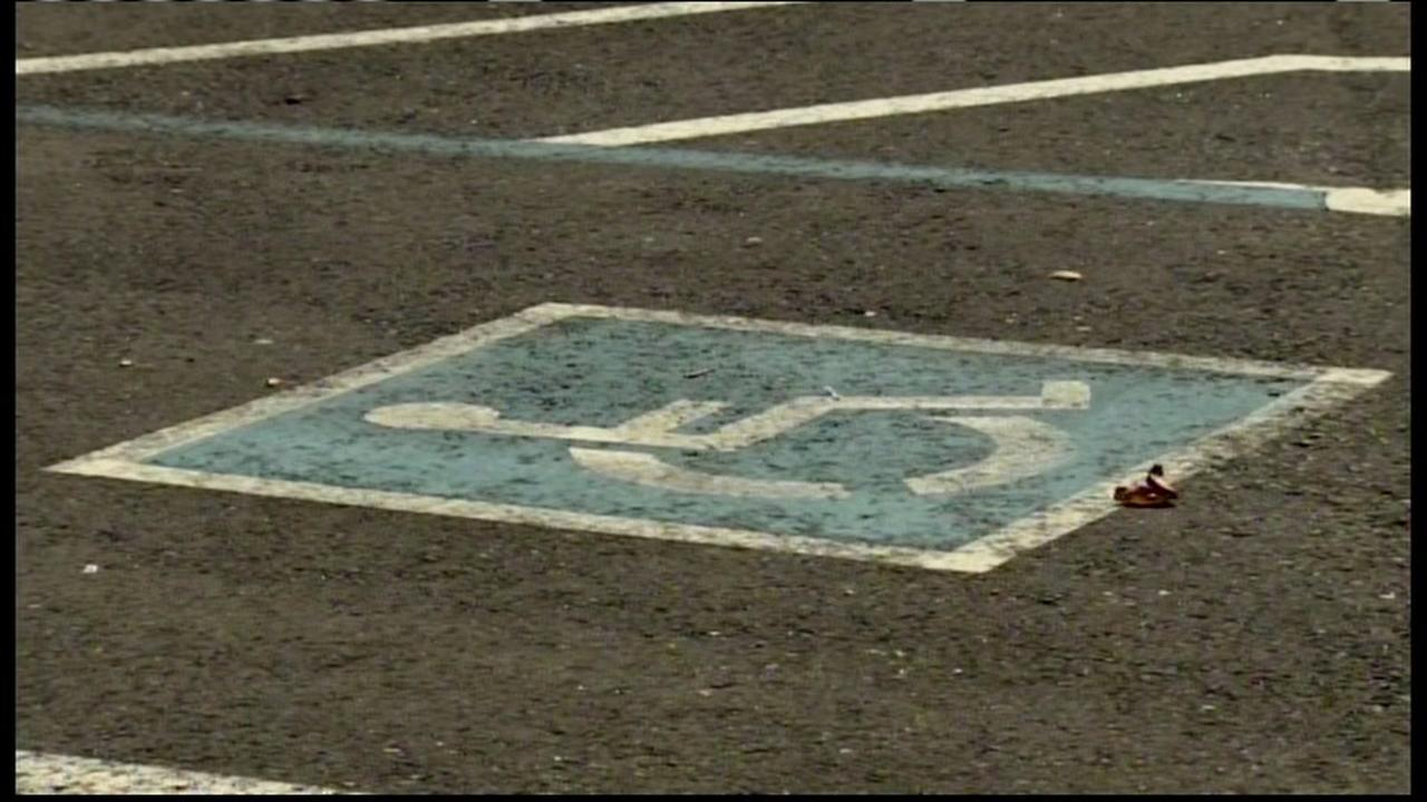 This is an undated image of a disabled parking space in the Bay Area.