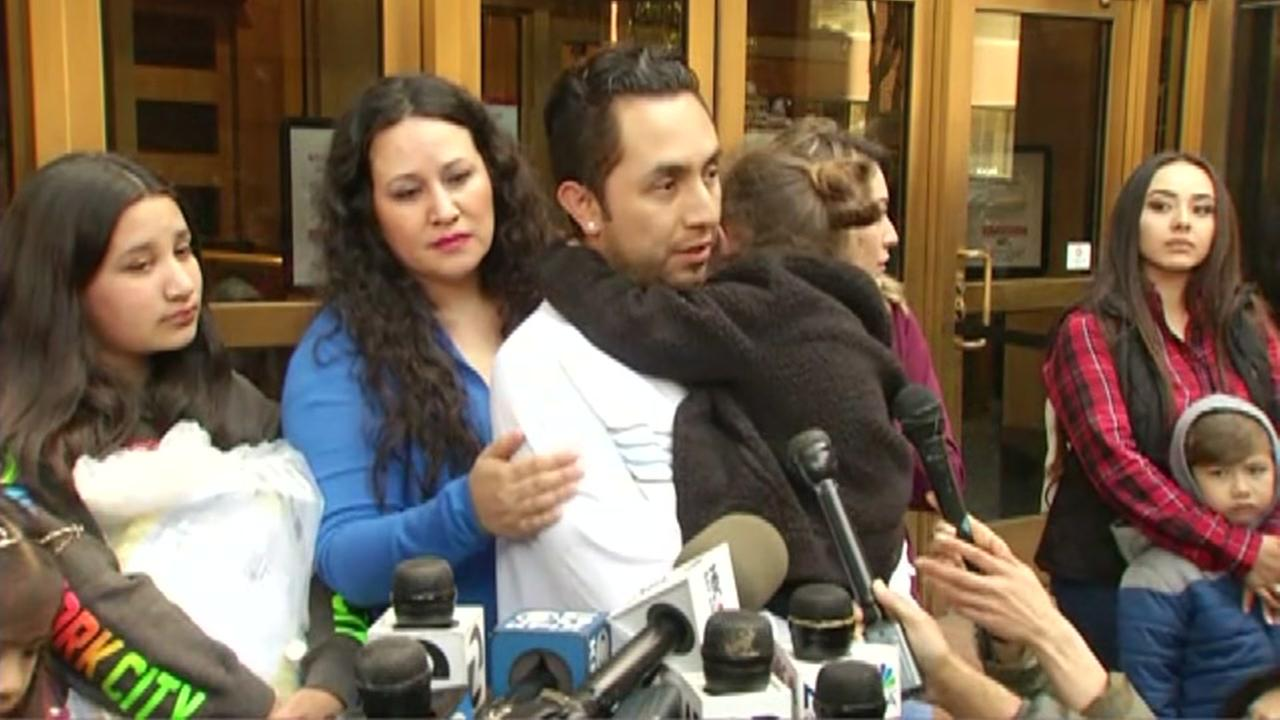 Fernando Carillo talks to reporters after being released by ICE in San Francisco on Monday, April 2, 2018.