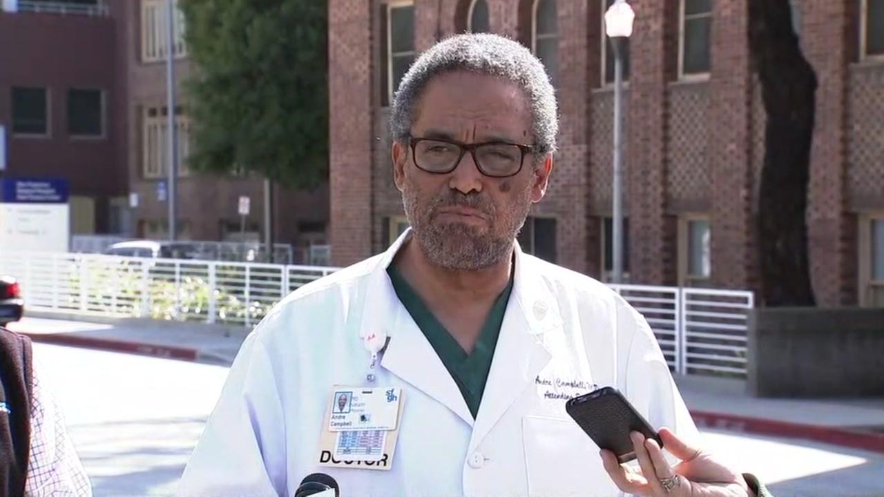 Dr. Andre Campbell, a trauma surgeon at Zuckerberg SF General Hospital, spoke out about gun violence in America during a press conference on Tuesday, April 3, 2018.