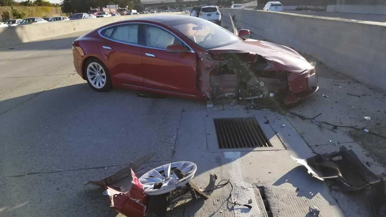 This photo was taken from the scene of a crash involving a Tesla on autopilot in Hayward, Calif. in September, 2017.