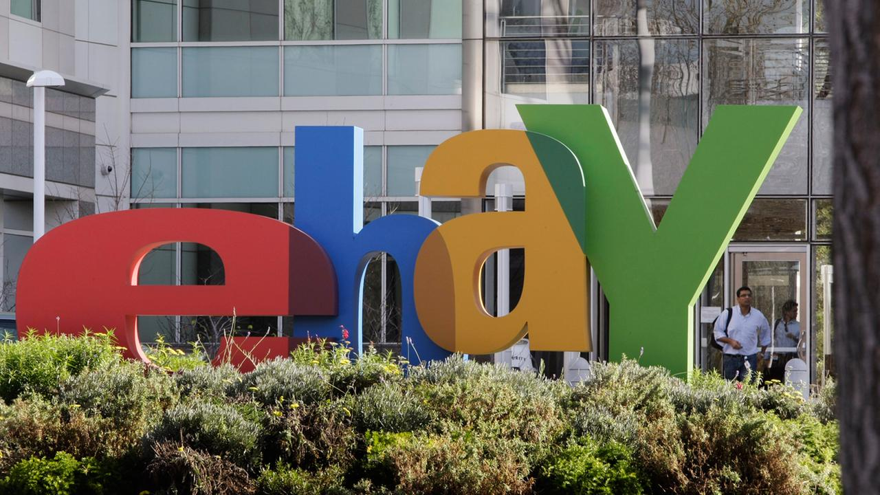 An eBay sign decorates the front of the companys headquarters in San Jose, Calif., Wednesday, Oct. 17, 2012.
