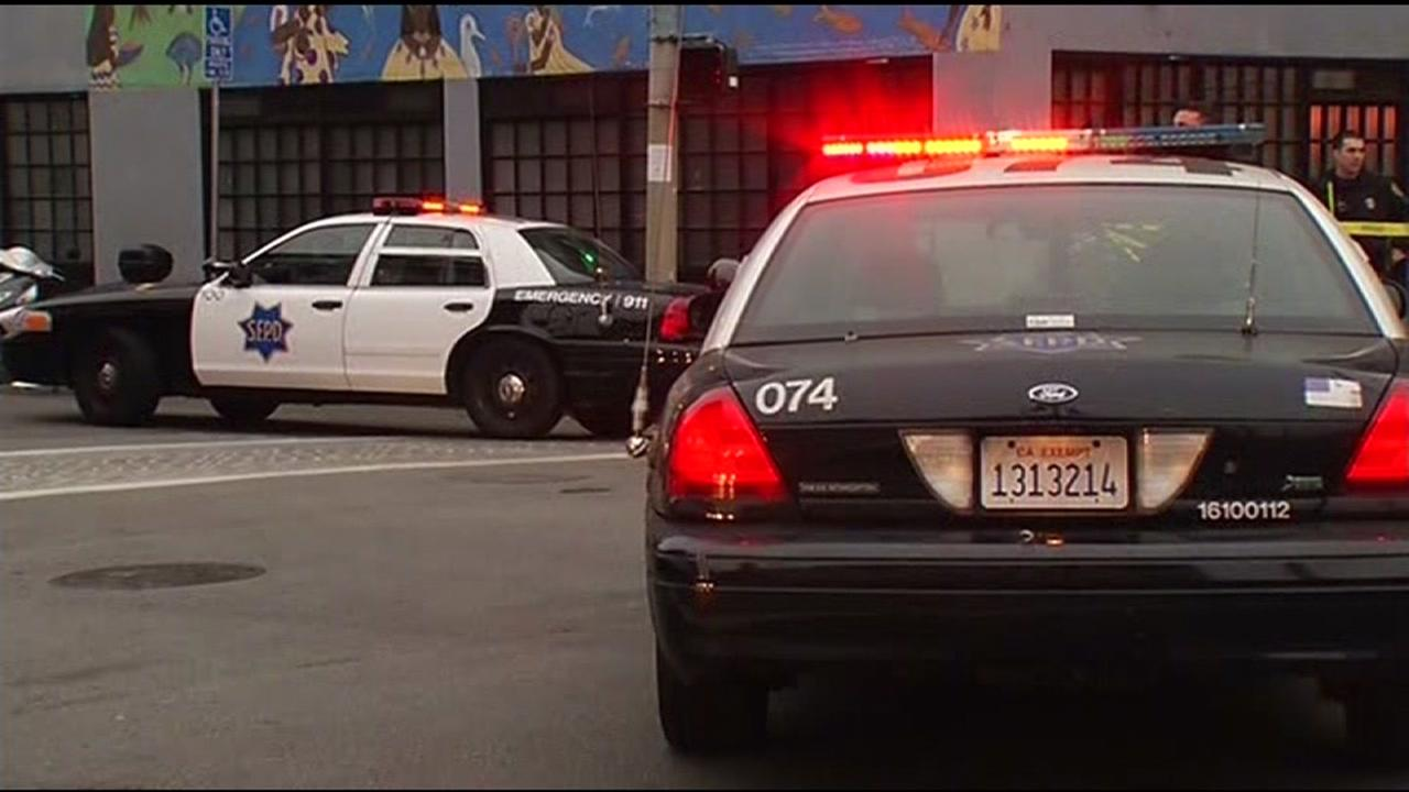 Police cruisers are pictured in San Franciscos Mission District.