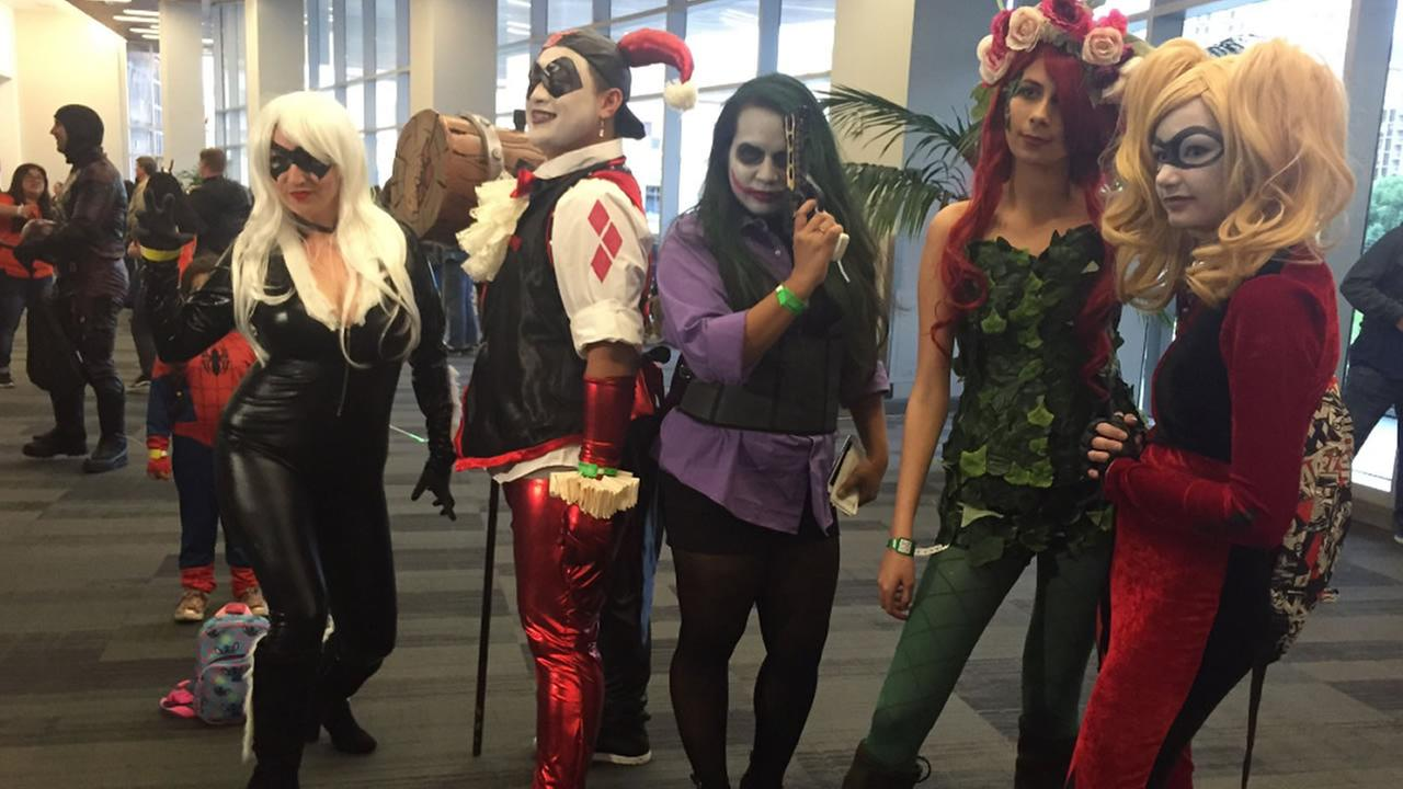 Cosplayers pose at Silicon Valley Comic Con on Friday, April 6, 2018.
