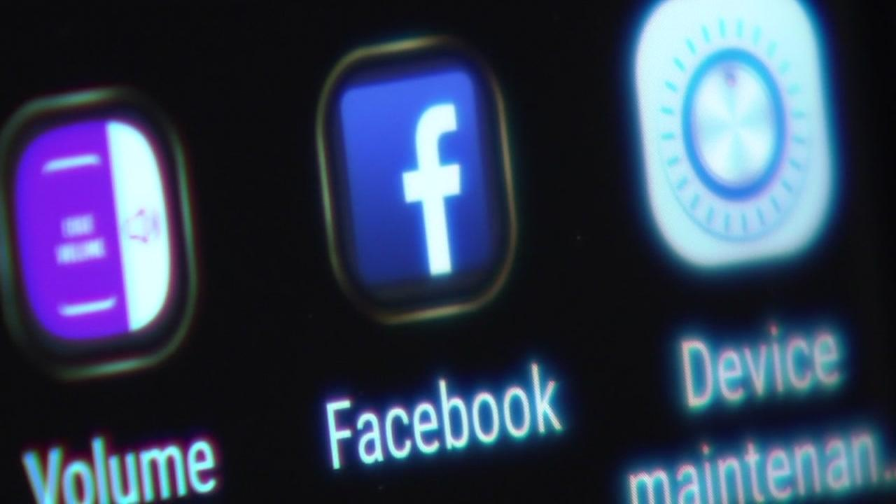 A Facebook icon appears on the home screen of a users phone on Tuesday, April 10, 2018.
