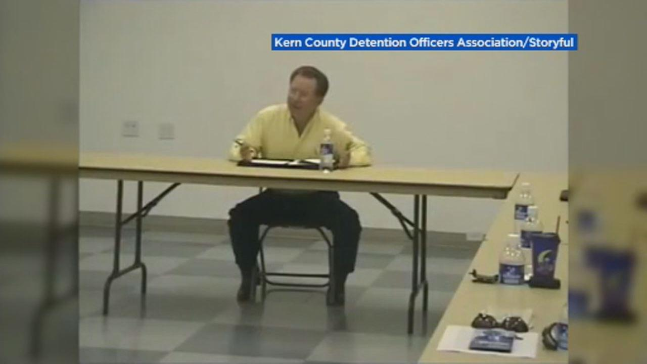 This image shows Kern County Sheriff Donny Youngblood appeared before the county Detention Officers Association in 2006.