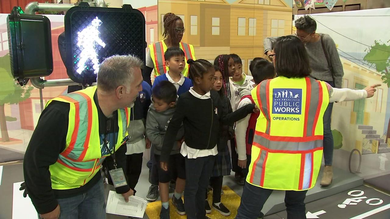 Children and instructors learn about street safety in San Francisco on Friday, April 13, 2018.
