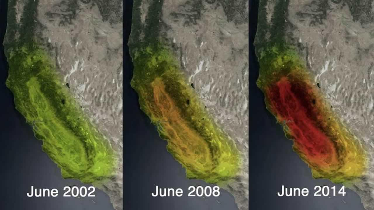 NASA released satellite images that show the dramatic loss of water storage in California.