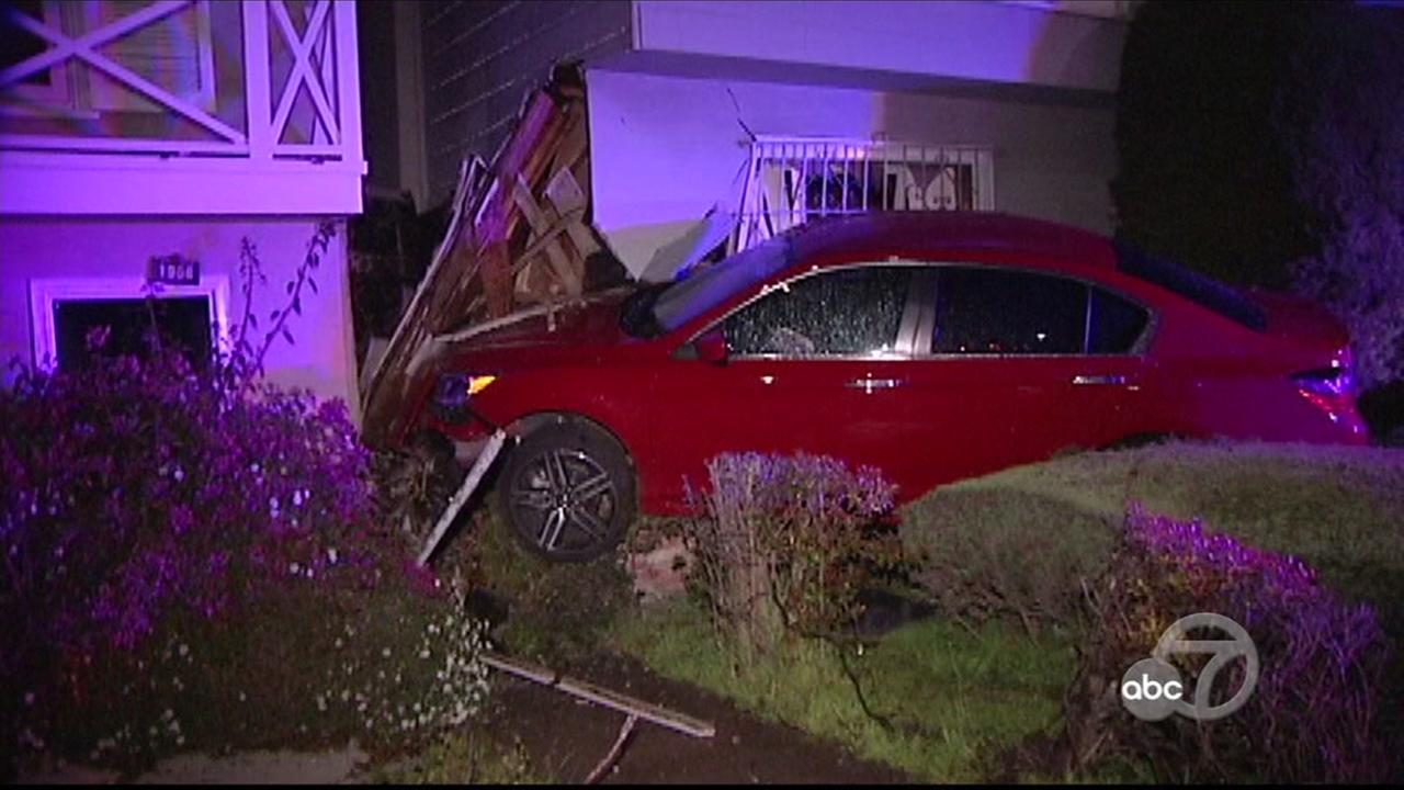 Car crash into home in San Francisco on Monday, April 16, 2018.
