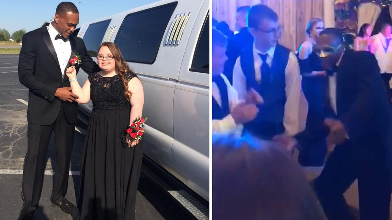 San Francisco 49ers player Don Jones attends a special-needs prom in Alabama with his date Lindsey Preston.