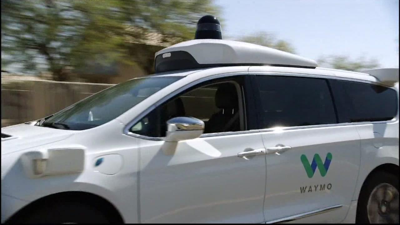 A Waymo self-driving car is testing in Mountain View, Calif. on Monday, April 16, 2018.