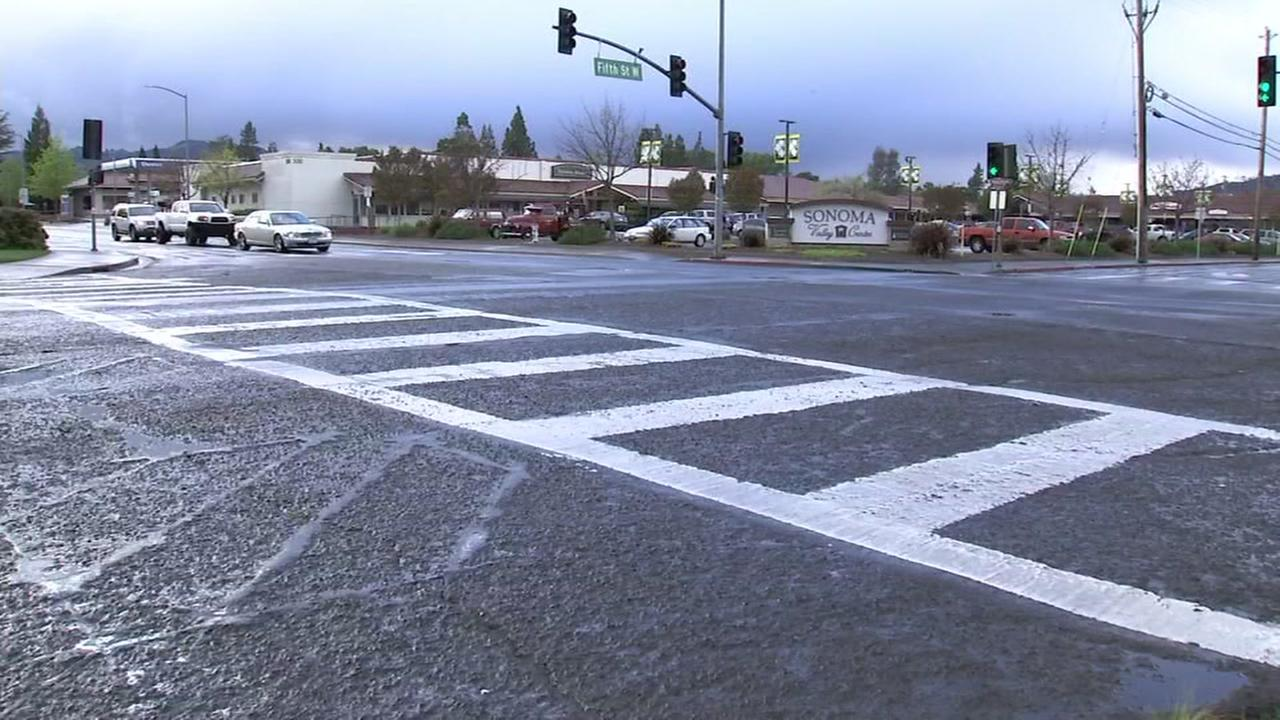 A Sonoma County crosswalk appears on Monday, April 16, 2018.