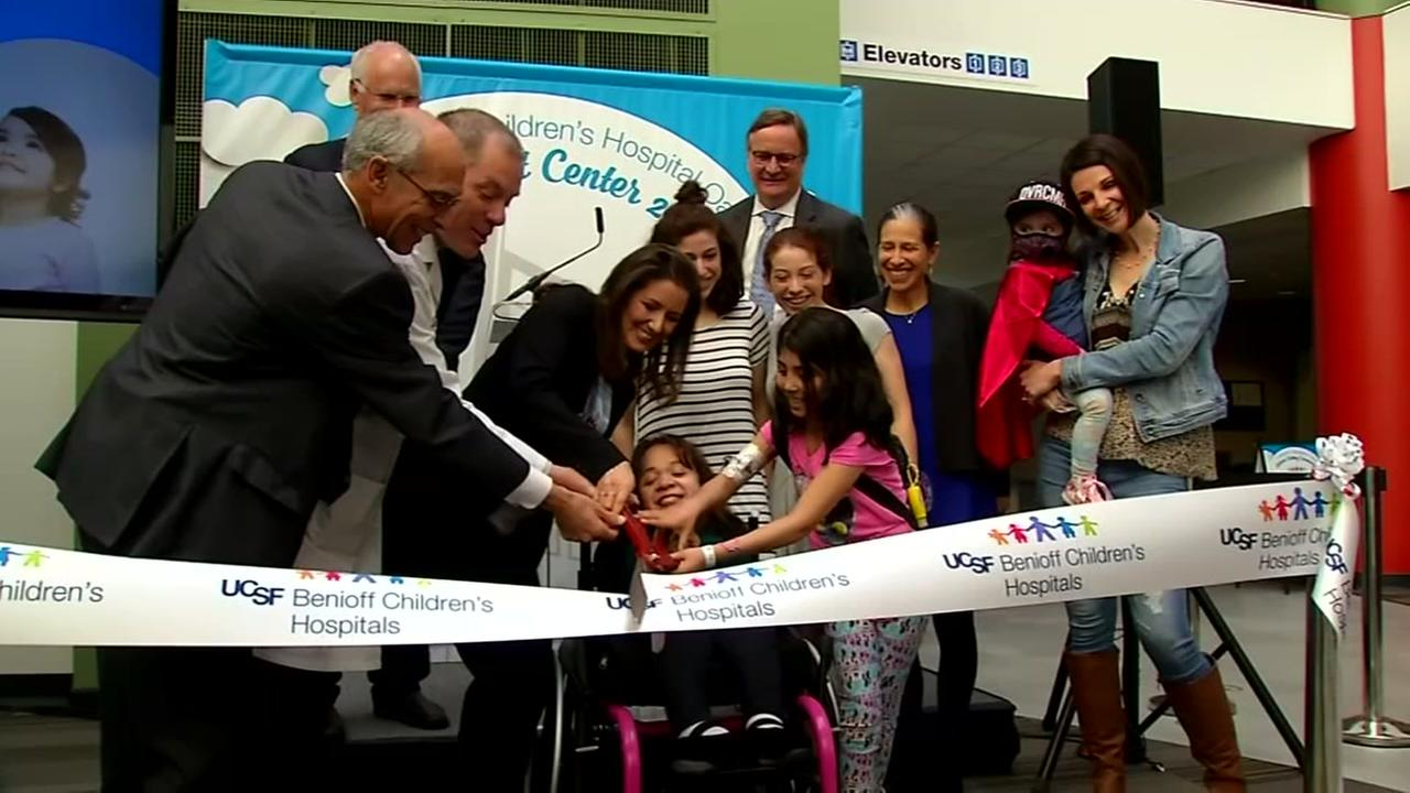 Oakland Mayor Libby Schaff, patients, and other hospital officials cut the ribbon opening a new outpatient center at Childrens Hospital Oakland on Thursday, April 19, 2018.