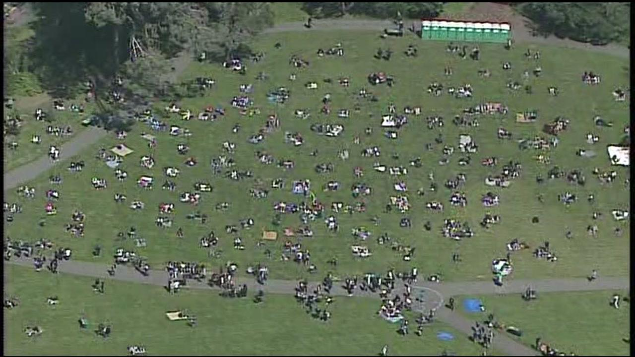 SKY7 was above 4/20 celebrations on Hippie Hill in San Francisco on Friday, April 20, 2018.