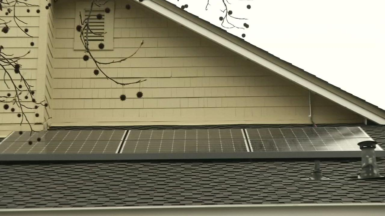 Solar panels are shown on a couples roof in Alamo, Calif. on Monday, April 23, 2018.