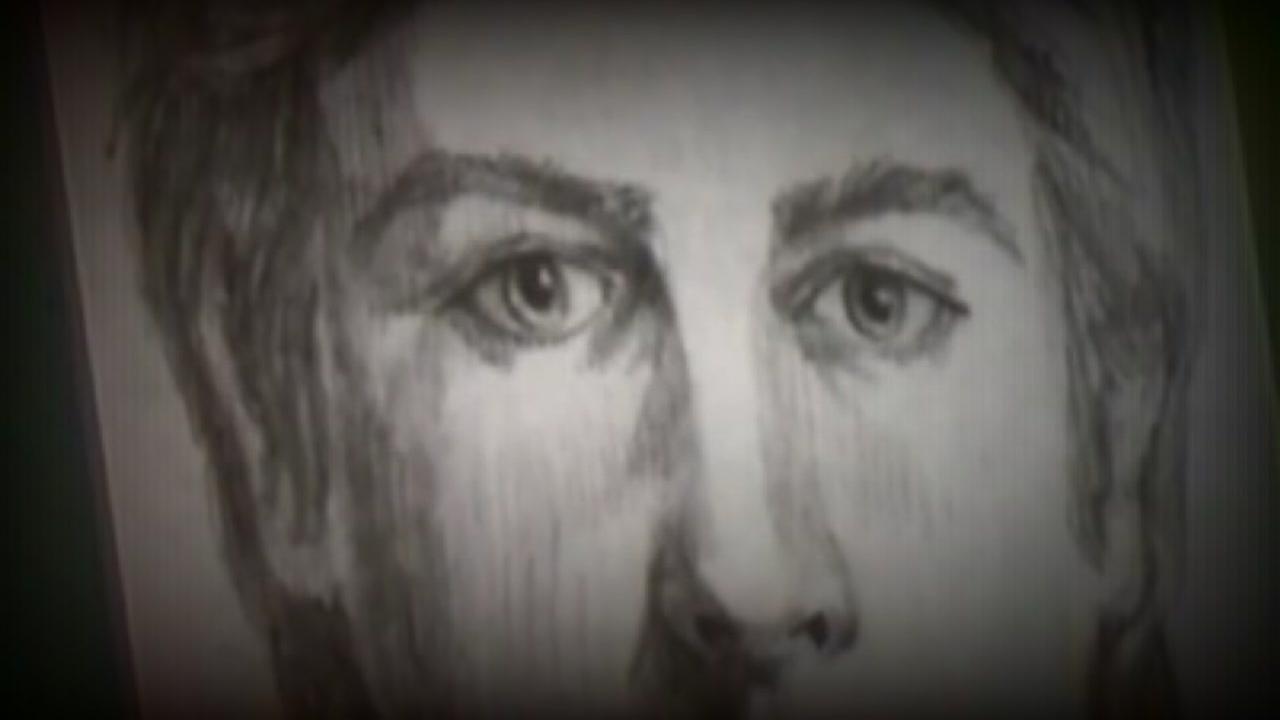 A close up of a sketch of the Golden State Killer appears on Wednesday, April 25, 2018.