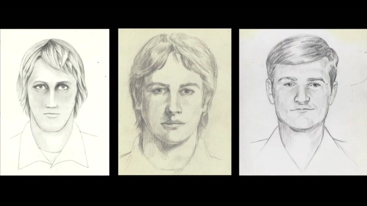 These are three undated sketches of the Golden State Killer.
