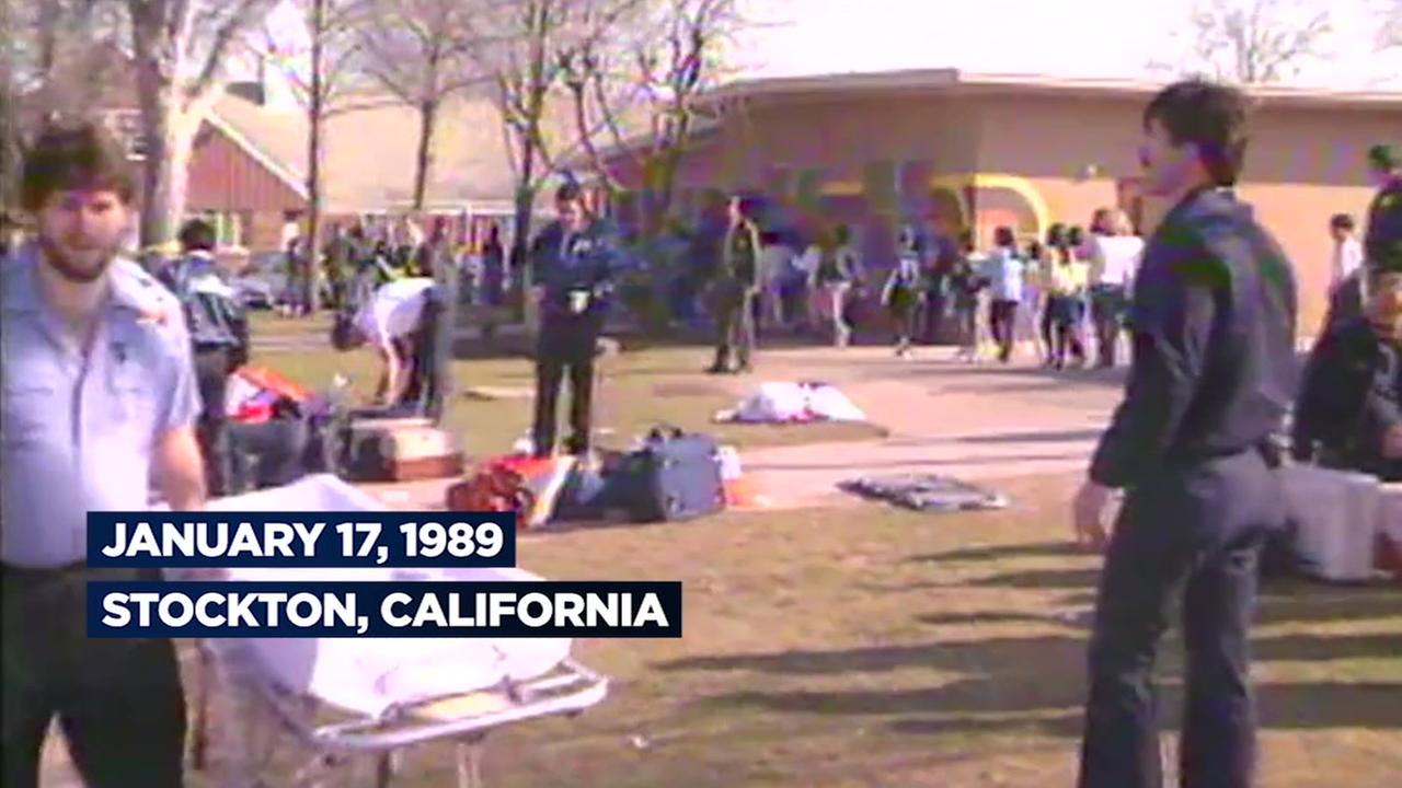 This screen grab is from archived footage from the Stockton school shooting.